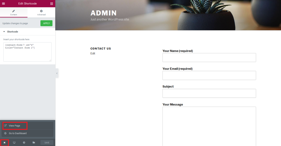 Contact form 7 with elementor editor