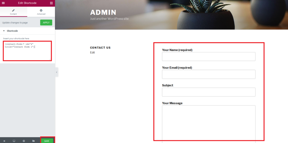 How to use contact form 7 with elementor