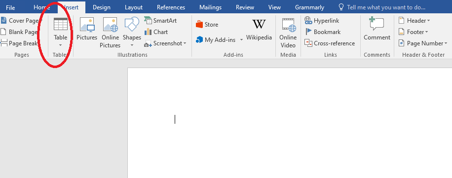 table in MS Word
