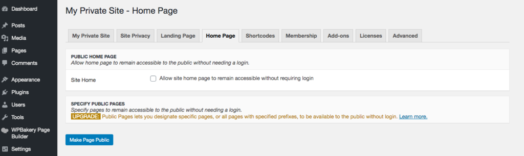 Private site home page settings