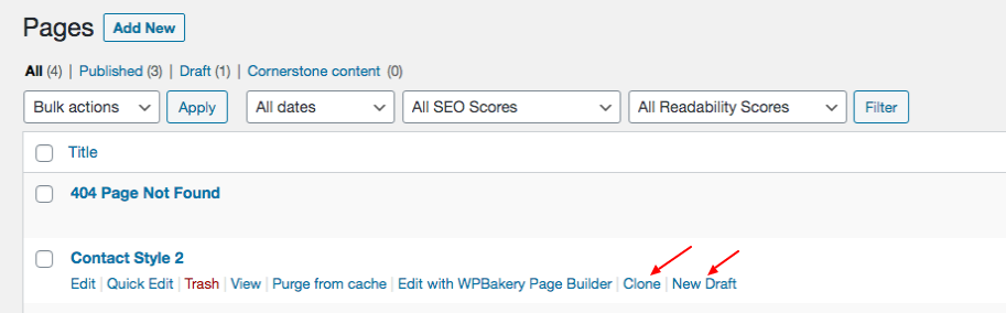 copy a page in WordPress